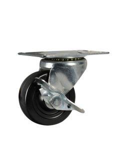 Stanley #S846-543 - 3 in. Swivel Plate Caster With Brake, Black