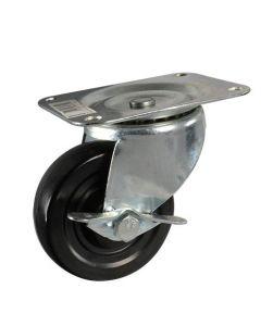 Stanley #S846-550 - 4 in. Swivel Plate Caster With Brake, Black