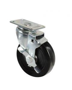 Stanley #S846-568 - 5 in. Swivel Plate Caster With Brake, Black