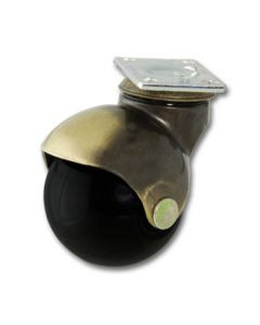 Ball Caster, Antique Brass, Black Wheel, Swivel Plate, No Brake - Item #185-50-AB-BL-SP-NB