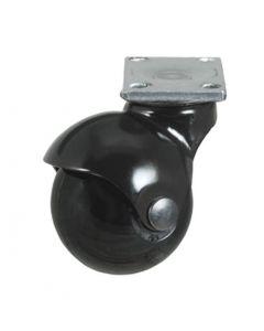 Ball Caster, Black Hood, Black Wheel, Swivel Plate, No Brake - Item #185-50-BL-BL-SP-NB